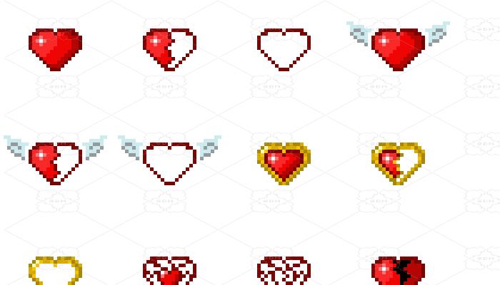 Pixel hearts.