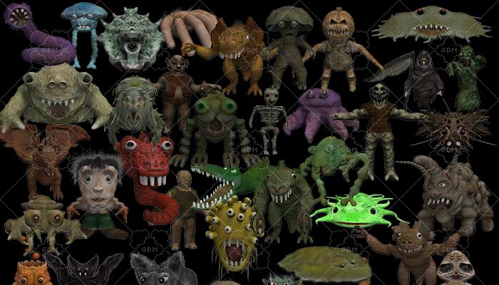 (50+ unique) 2D Fantasy Monster Battler Bundle Pack