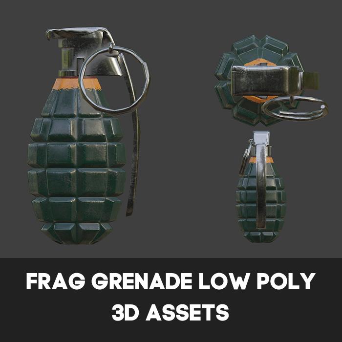 Frag Grenade Low Poly 3D Assets