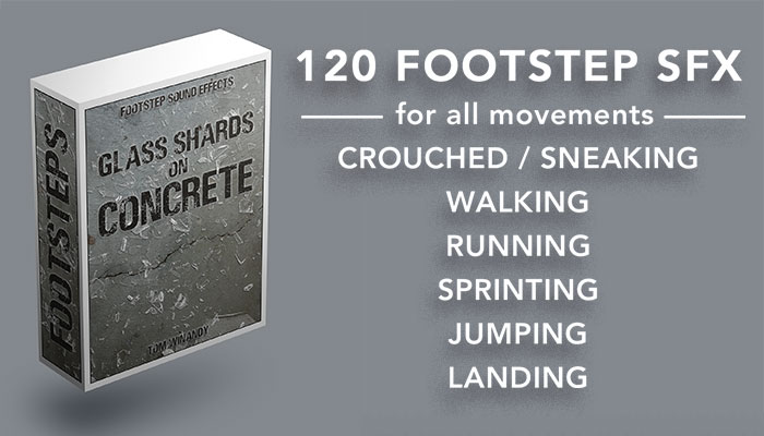 Footsteps Sound FX – Glass Shards on Concrete