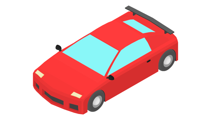 Animation of the rotation of a sports car by 15 degrees.