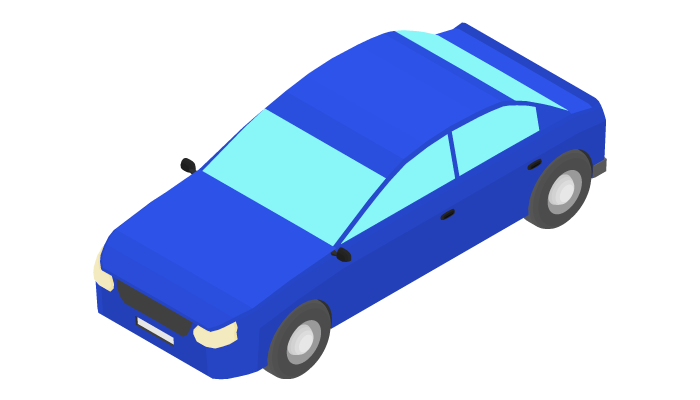 Animation of the rotation of a blue sedan by 15 degrees.