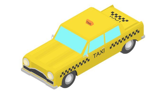 Animation of the rotation of a taxi car by 15 degrees.