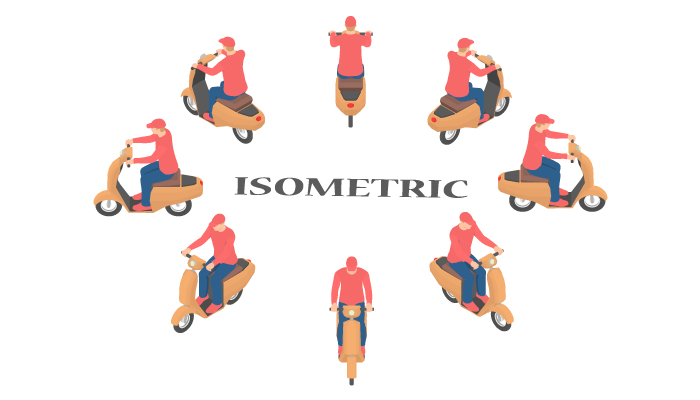 Scooter driver rotation sprites by 15 degrees in isometric.