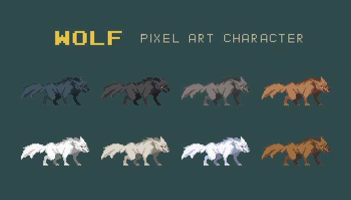 Wolf Pixel Art Character