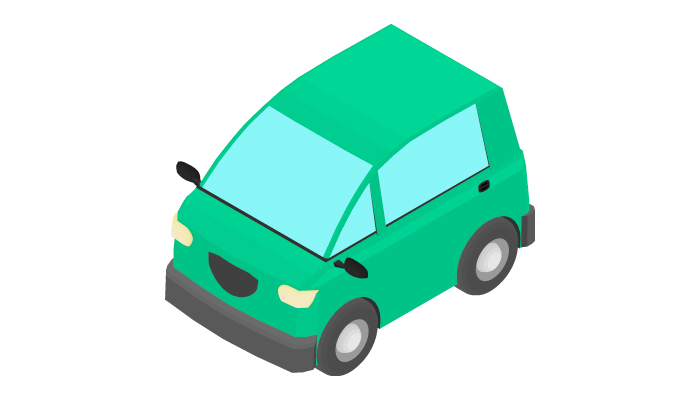 Animation of the rotation compact car in isometric view.