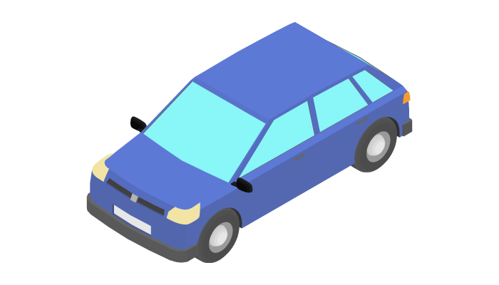 Animation of the rotation of the hatchback car in isometric view.