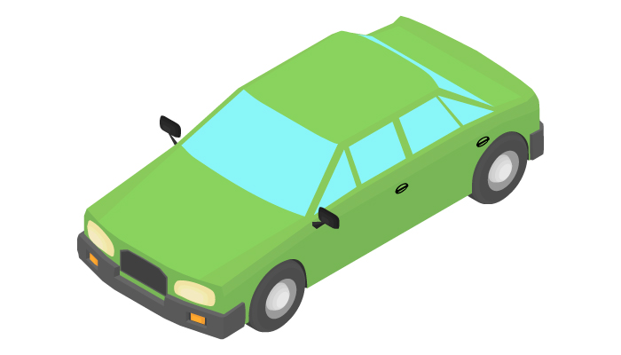 Animation of the rotation of the sedan car in isometric view.