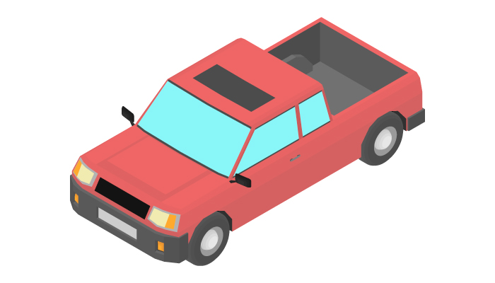 Animation of the rotation pickup truck in isometric view.