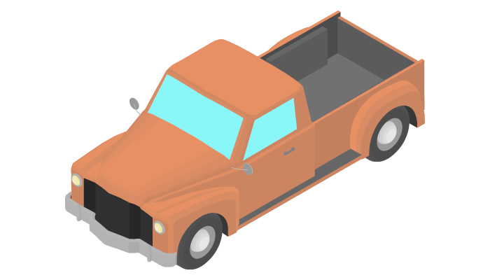 Animation of the rotation retro pickup truck in isometric view.