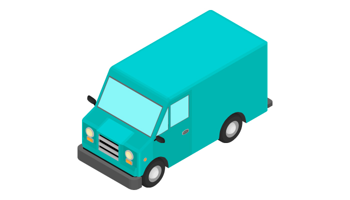 Animation of the rotation of the van in isometric view.