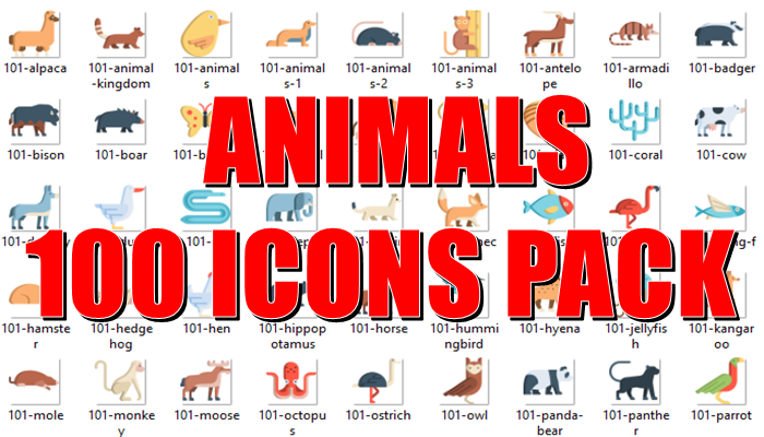 Animals 100 Icons Pack