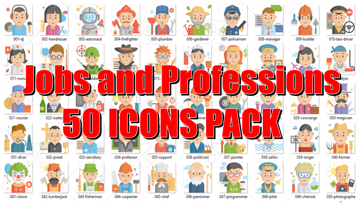 Jobs and Professions 50 Icons Pack