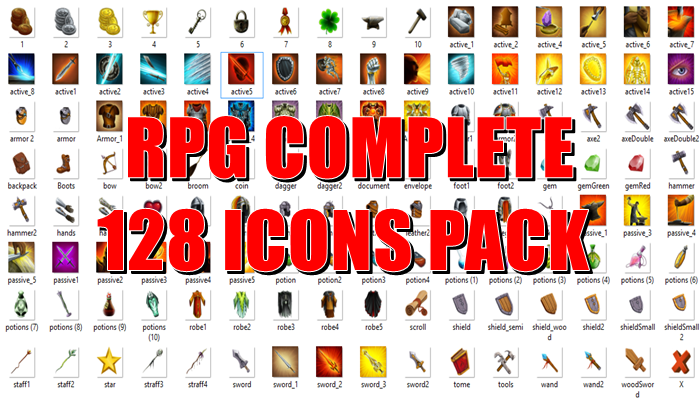 RPG Complete 128 Icons Pack