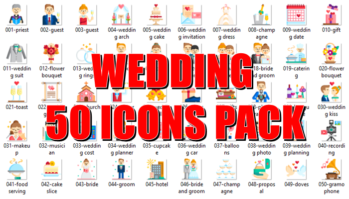 Wedding 50 Icons Pack