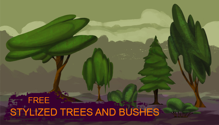 Stylized trees and bushes