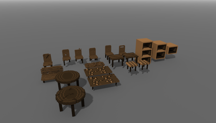 Voxel furniture 3d