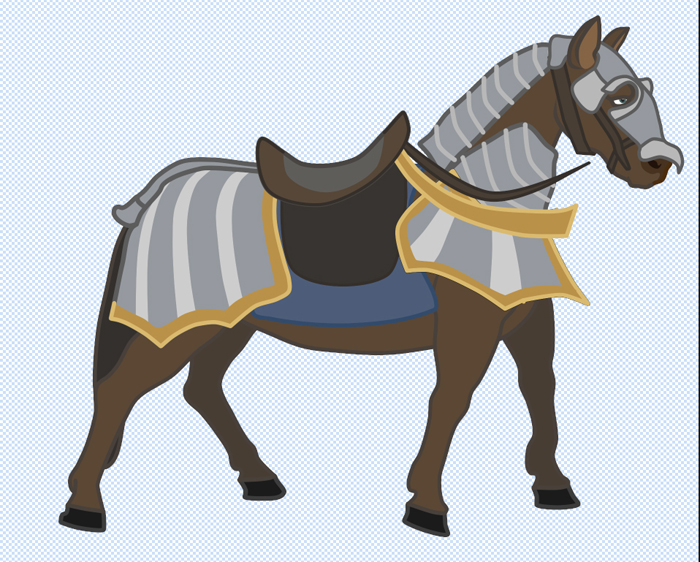 Animation of the movement of a horse in armor.