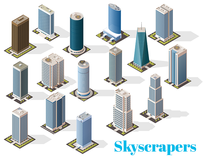 Vector real estate, skyscrapers and buildings