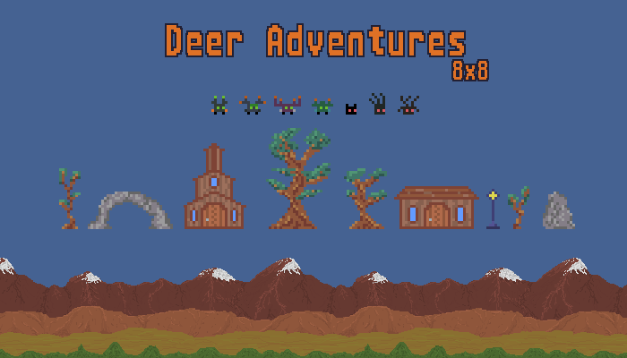 Deer Adventures 8×8 game assets