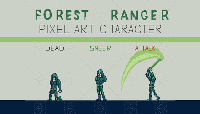 FANTASTIC FOREST RANGER PIXEL ART CHARACTER