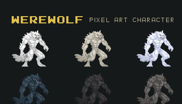 Werewolf Pixel Art Character
