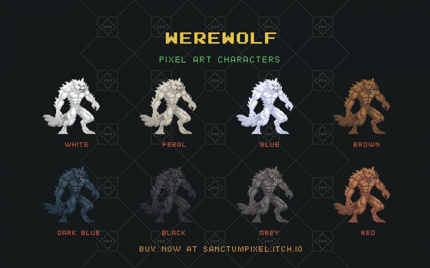 Werewolf Pixel Art Character   GameDev Market