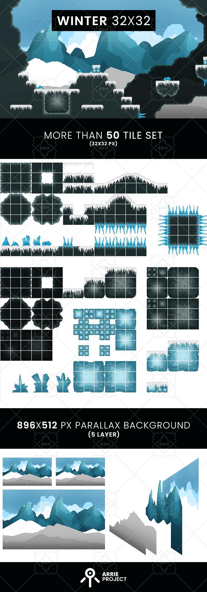 Winter tile set 32×32