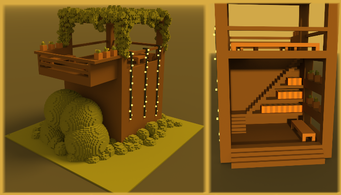 3D voxel gazebo with pergola