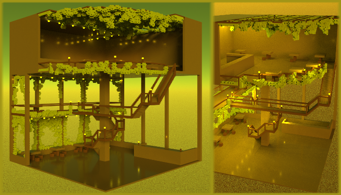 3D voxel three floor cafe