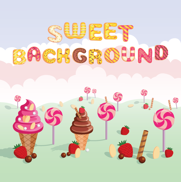 2D parallax Background of sweets
