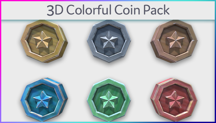 3d Colorful Coins Pack
