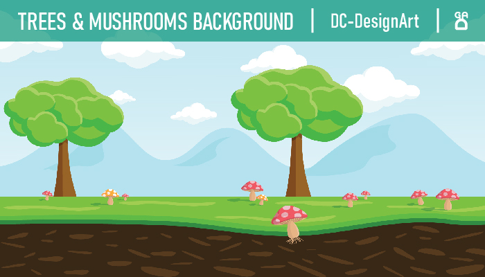 2D parallax Background – Trees & Mushrooms