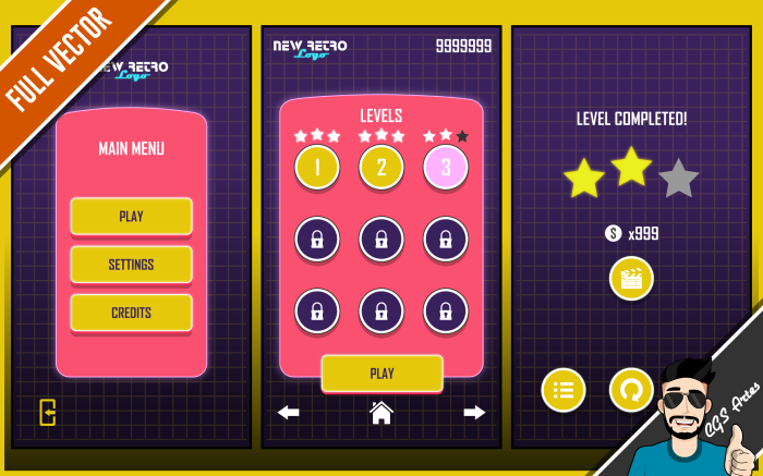 TEMPLATE GAME GUI – NEW RETRO