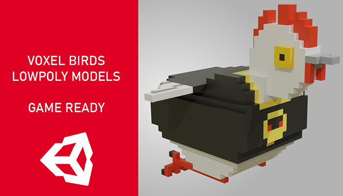 Voxel birds 3d lowpoly models – Game Ready