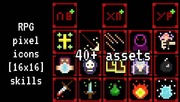 [RPG] pixel icons 16×16 skills