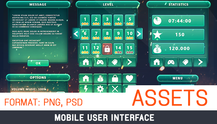 Assets: UI Mobile #2 [Icons, Slider, Buttons, Panels, CheckBox]