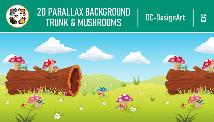 2D parallax Background – Trunk & Mushrooms
