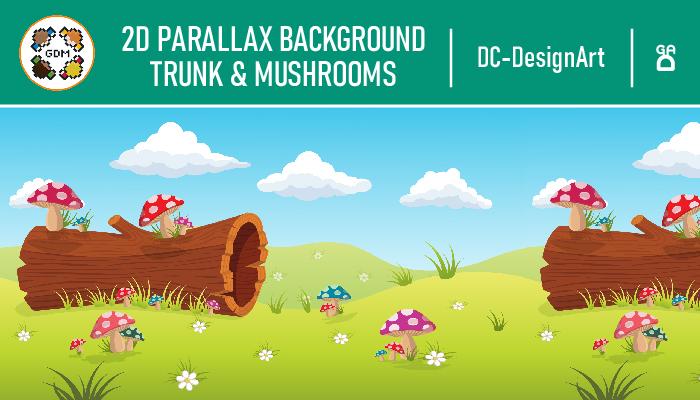 2D parallax Background – Trunk & Mushrooms