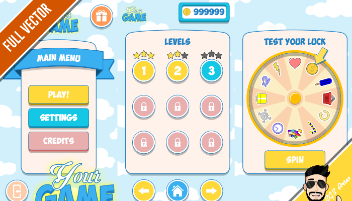TEMPLATE GAME GUI – CARTOON
