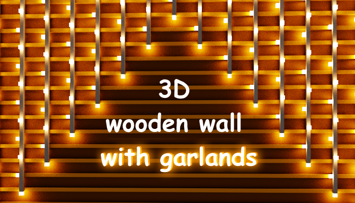 3D wooden wall with garlands magicavoxel