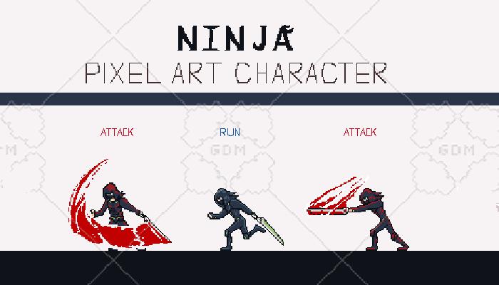 NINJA PIXEL ART CHARACTER