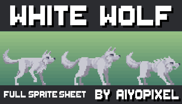White wolf, a full pixel art sprite sheet