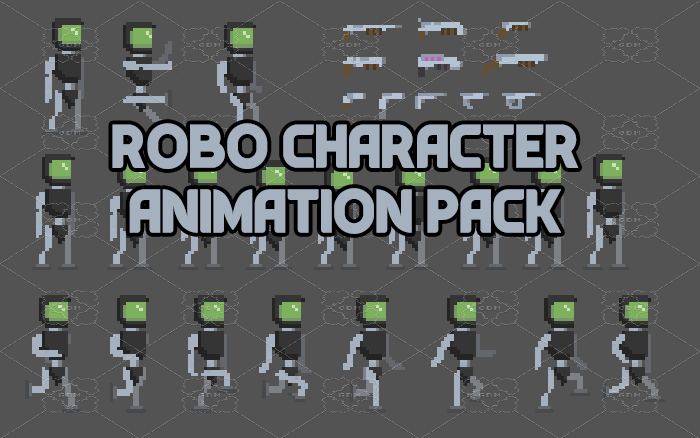 Robot character with animation
