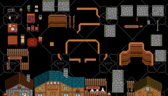 Complete RPG pixel art set