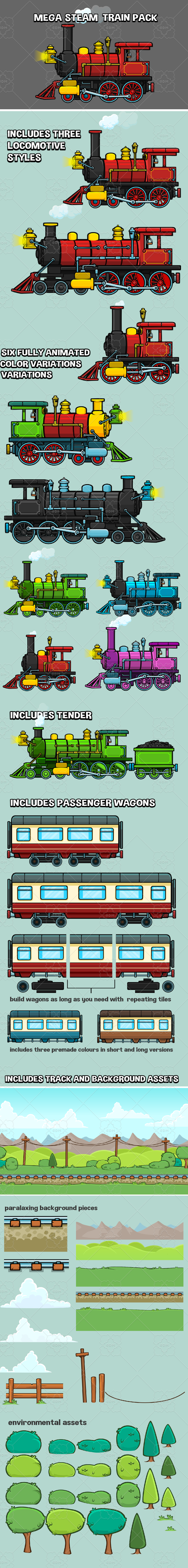 Mega steam engine game asset pack