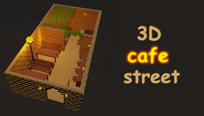 3D cafe street