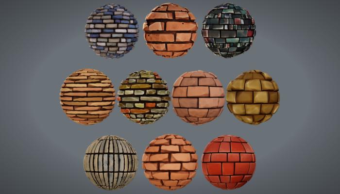 Stylized PBR Brick Textures
