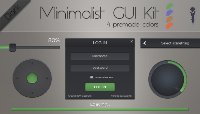Minimalist GUI Kit – Dark