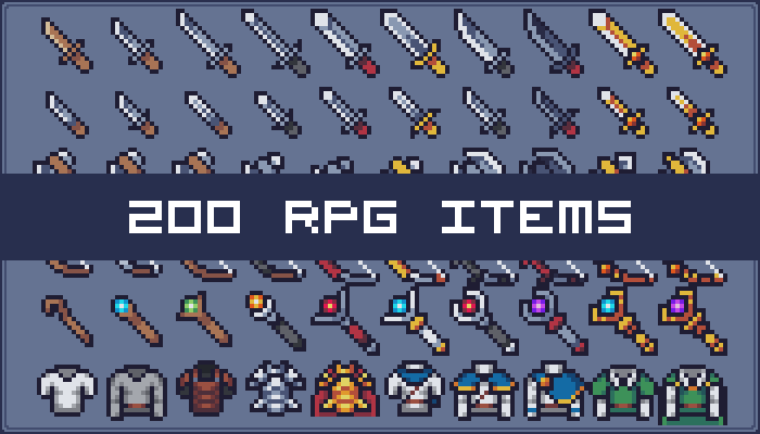 200 Weapons, Equipments and Items